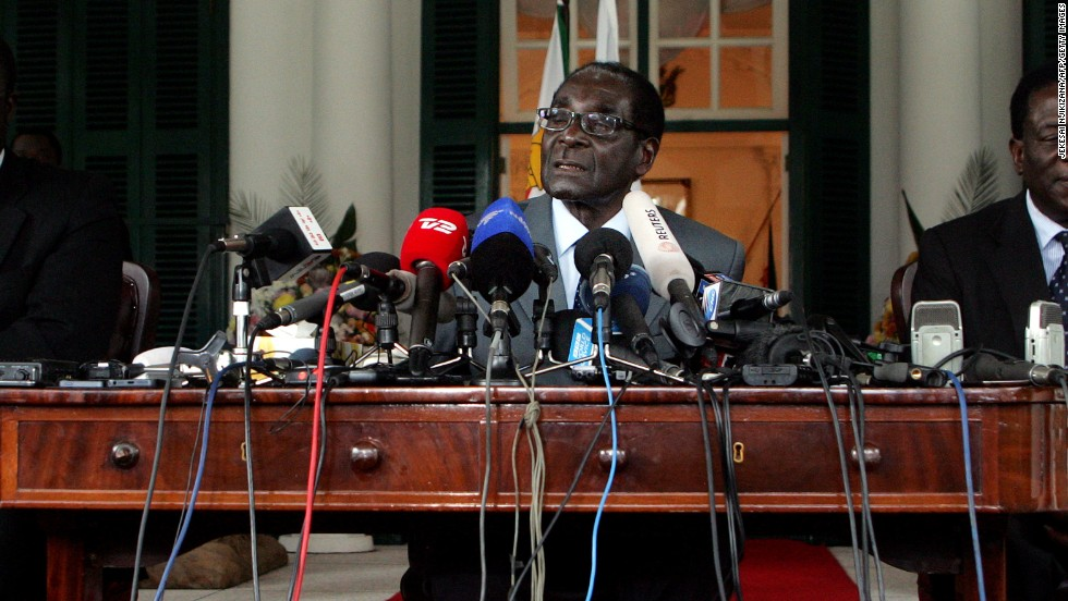 Zimbabwe's President and Zanu PF Presidential candidate Robert Mugabe speaks at a press briefing on July 30, 2013 at the State House, on the eve of Zimbabwe's presidential and parliamentary vote. Veteran President Mugabe vowed to step down if he loses the fiercely-contested election.