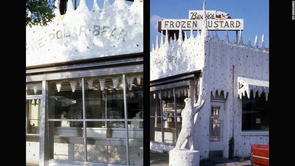 "Unfortunately this Polar Bear is extinct -- Beck's Frozen Custard in Washington, DC is lost to history. To quote Joni Mitchell, ""They paved paradise -- And put up a parking lot."" Really they did. A supermarket lot is now on the site. These photos were taken in 1976."