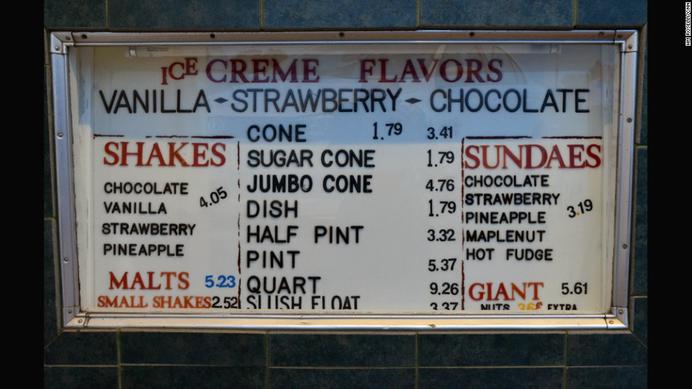 It's more than just the cone - the menu board in Fredericksburg, Virginia.