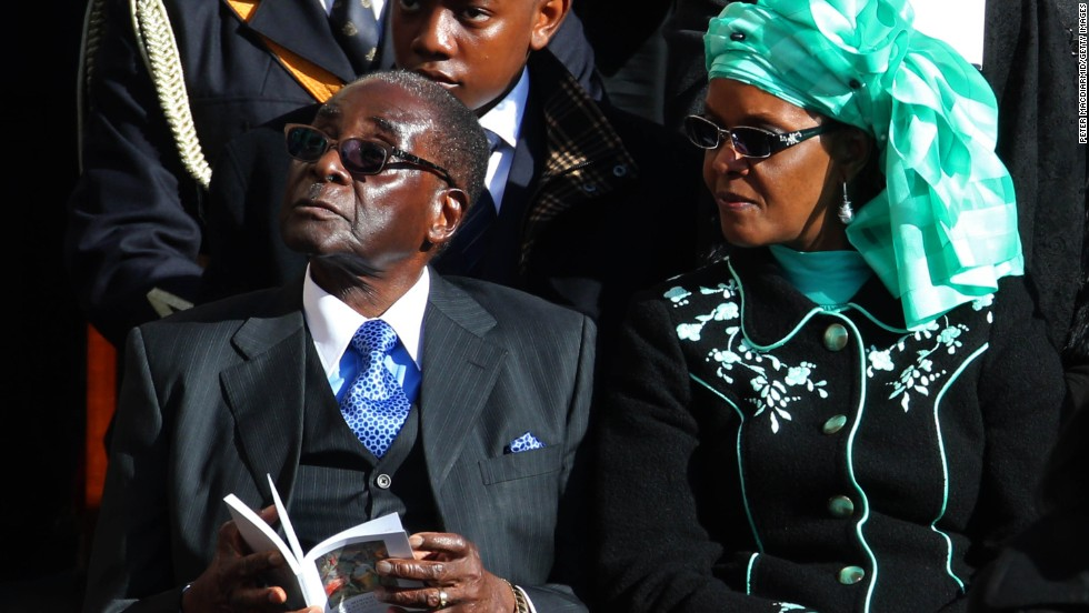 Mugabe and his wife, Grace, attend the inauguration Mass for Pope Francis in March 2013 at the Vatican.