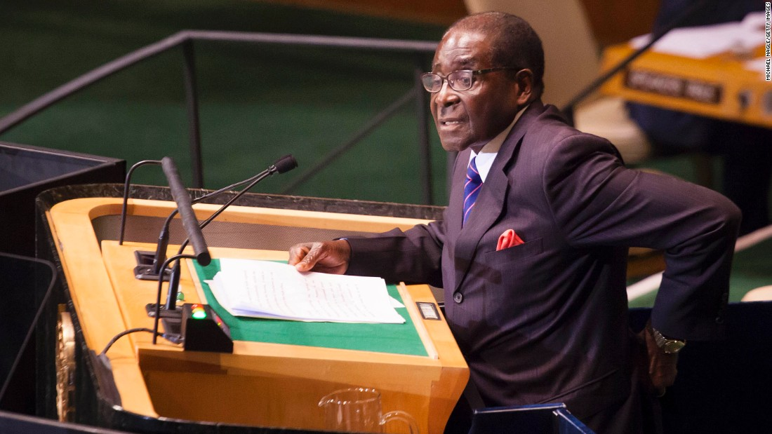 Mugabe addresses world leaders at the UN General Assembly in September 2012 in New York.