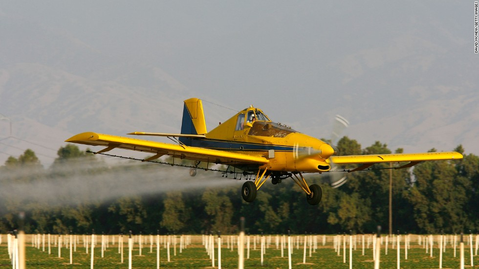 A real-life crop duster similar to Dusty sprays pesticide on cotton and potato field south of Bakersfield, California.