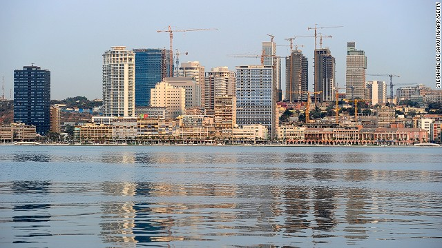 Construction cranes along the waterfront of Luanda, the capital of Angola.