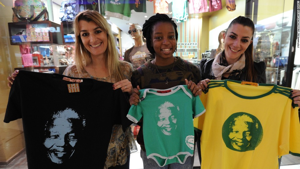 Mandela's face can also be found adorning countless other clothes and products in boutique stores and roadside stalls across South Africa.
