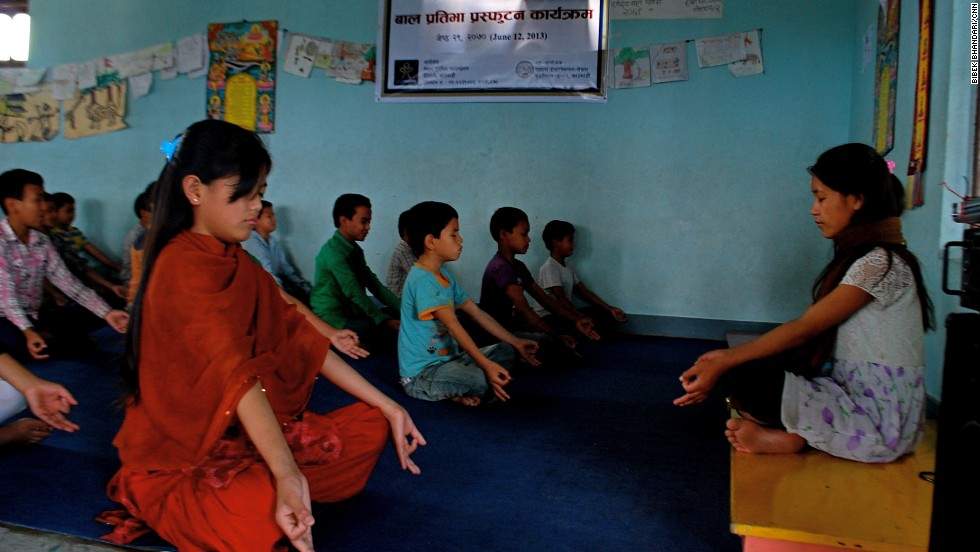 The children at Nepal Goodweave Foundation start their day with yoga before they leave for school. According to coordinator Rajkumar Khadka, yoga is a stress reliever for the children, who are former child laborers.