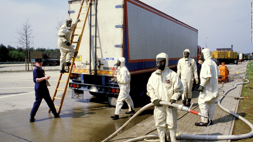 West German Customs officials closely screen goods, cars and people coming in from Eastern Europe on May 5, 1986. Radioactivity from the Chernobyl nuclear plant threatened to contaminate crops.