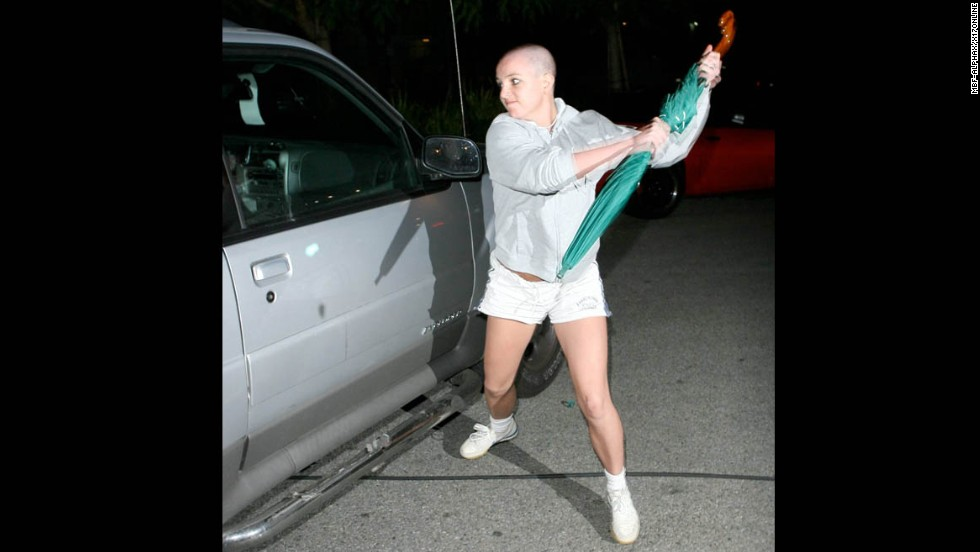 "Britney Spears' career has rebounded from her 2007 meltdown, but the star has yet to live down her infamous run-in with the paparazzi that year. Newly bald after shaving her head at a California salon that February, Spears <a href=""http://www.time.com/time/specials/packages/article/0,28804,1892685_1892691_1892788,00.html"" target=""_blank"">attacked a paparazzo's car with an umbrella</a> outside the home of her ex, Kevin Federline, in Tarzana."