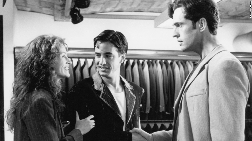 "Julia Roberts realizes she has feelings for her best friend, played by Dermot Mulroney, in the 1997 film, ""My Best Friend's Wedding."""