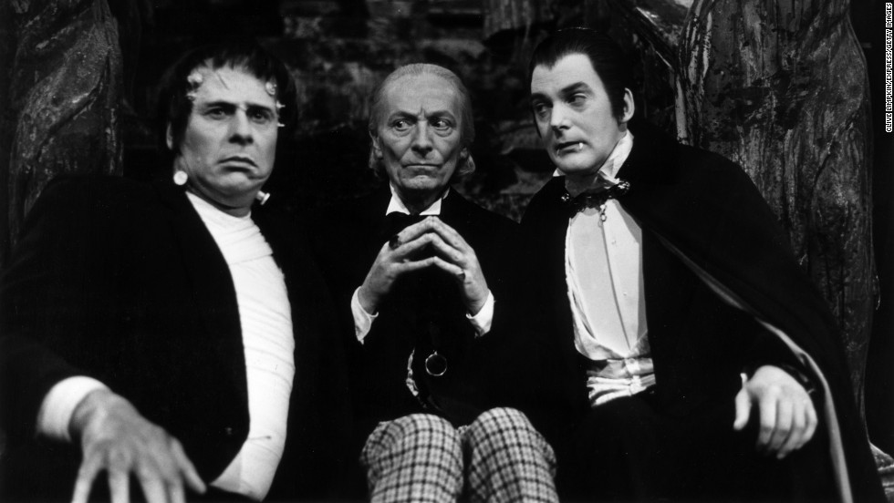"William Hartnell (center) stars as the first Doctor (1963-1966) and is pictured alongside Dracula and Frankenstein's monster in ""The Chase"" on May 2, 1965."