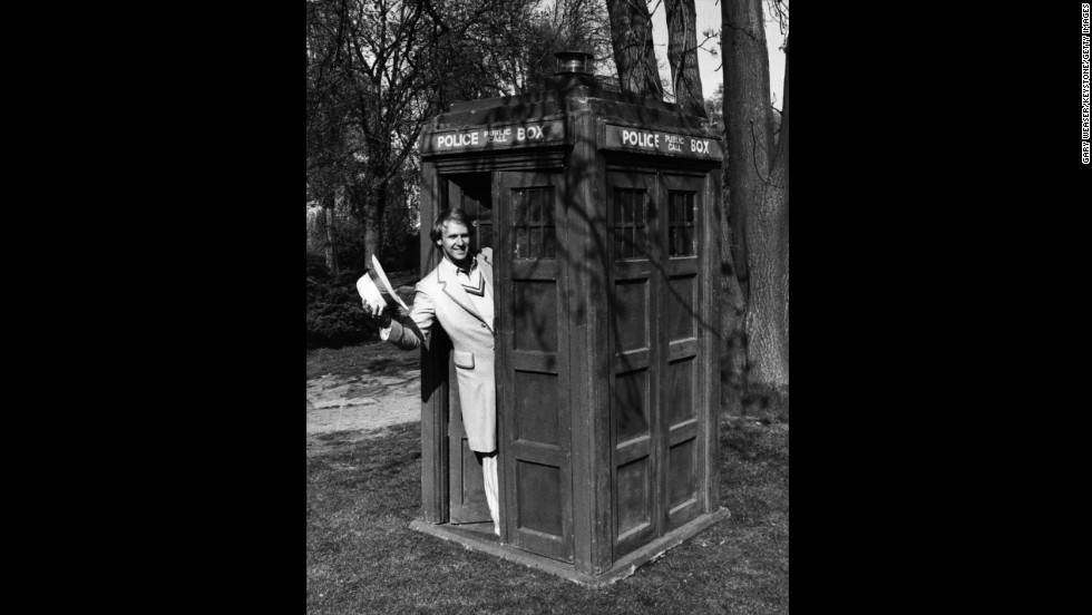 Peter Davison, the fifth Doctor from 1981-1984, poses in the TARDIS at BBC Television Centre, London, on April 15, 1981.