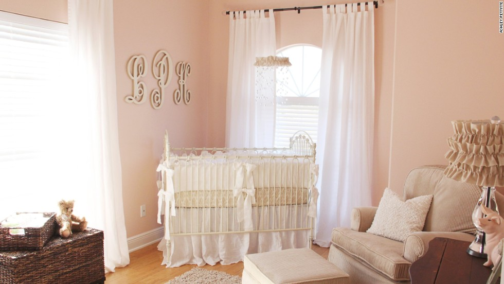 "Ashley Pettitte's <a href=""http://godblessournest.blogspot.com"" target=""_blank"">soft, feminine nursery</a>."