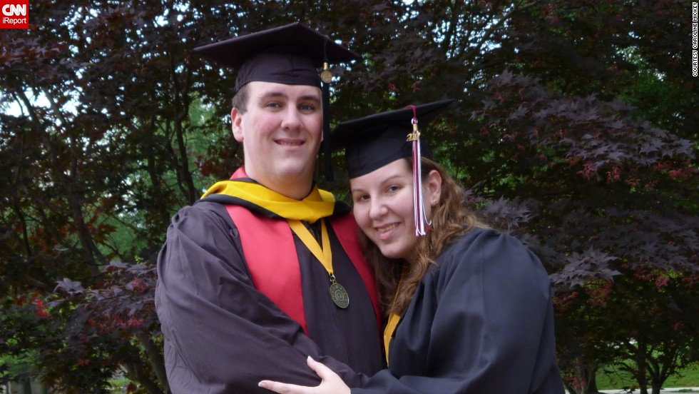 Caroline Mickey and fiancé Jon Balajthy graduated from college in May 2012. At the time, Mickey and Balajthy were at their heaviest, weighing 235 and 325 pounds, respectively.