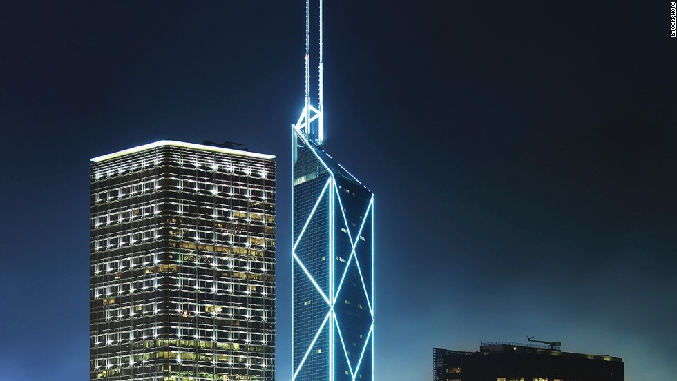 <strong>Height</strong>: 367.4 meters.<br /><strong>Cost to build</strong>: N/A.<strong><br />Completion date</strong>: May 1990.<br /><strong>Fast fact</strong>: The building was criticized by feng shui masters for its sharp corners, which, they claimed, would bring bad luck to its neighbors (notably the HSBC main building).