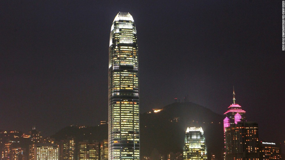 """<strong>Height</strong>: 415 meters.<br /><strong>Cost to build</strong>: $2.5 billion.<strong><br />Completion date</strong>: August 2008.<br /><strong>Fast facts</strong>: Two International Financial Center is the definitive point of Hong Kong's skyline and a symbol of its wealth. In """"Lara Croft Tomb Raider: The Cradle of Life,"""" Lara Croft leaped off the building."""