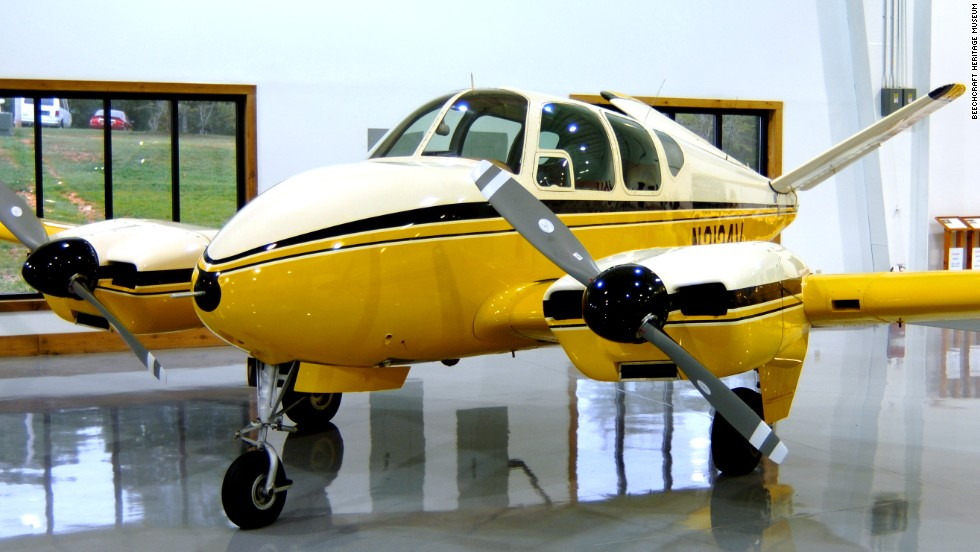 "This Super V Bonanza has Rochelle's twin-engines and her V-tail. Only nine Super Vs were built, according to the <a href=""http://www.beechcraftheritagemuseum.org/collection/N3124V.html"" target=""_blank"">Beechcraft Heritage Museum</a> in Tullahoma, Tennessee, which is home to this beauty. It's a modified 1947 Model 35 Bonanza."