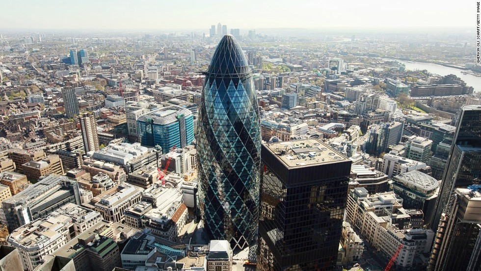 "Affectionately known as ""The Gherkin,"" 30 St Mary Axe is among the major London skyscrapers opening its doors. Visitors have a chance to tour the foyer and top floor of the 40-story curvilinear landmark."