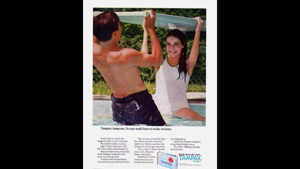 "This Tampax advertisement assures readers that girls can begin using internally worn protection with their ""very first period,"" attempting to alleviate concerns still aired today that tampons should not be worn by young women and may affect their <a href=""http://bit.ly/16XWaZM"" target=""_blank"">virginity</a>."