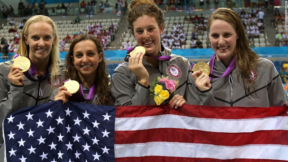 Franklin also won two relay golds in London, helping the U.S. set a world record in the 4 x 100m medley. She was joined by, left to right, Dana Vollmer, Rebecca Soni and Allison Schmitt.