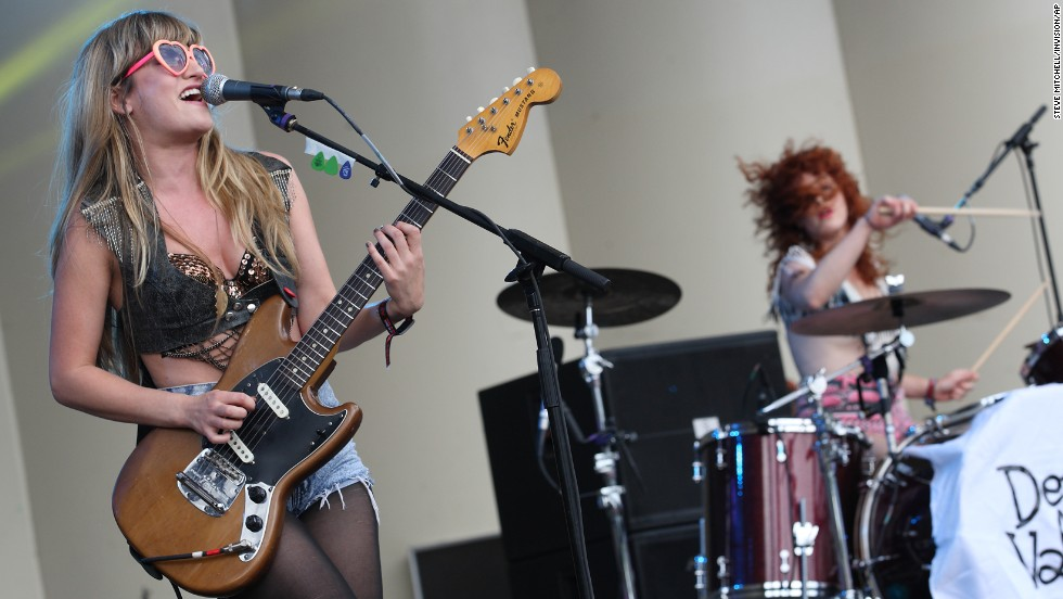 Lindsey Troy and Julie Edwards of the rock duo Deap Vally perform on August 2.