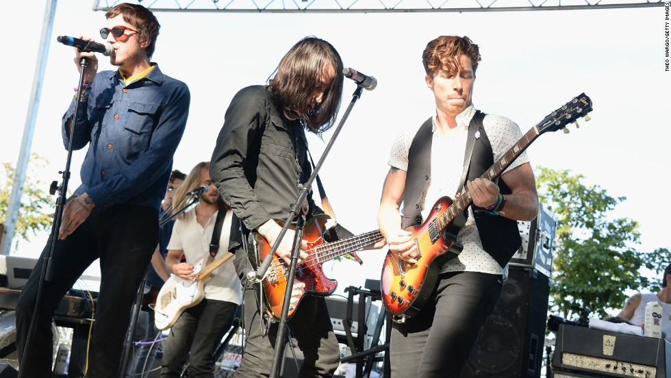 From left, Davis LeDuke, Jared Palomar and Shaun White of Bad Things perform on August 3.