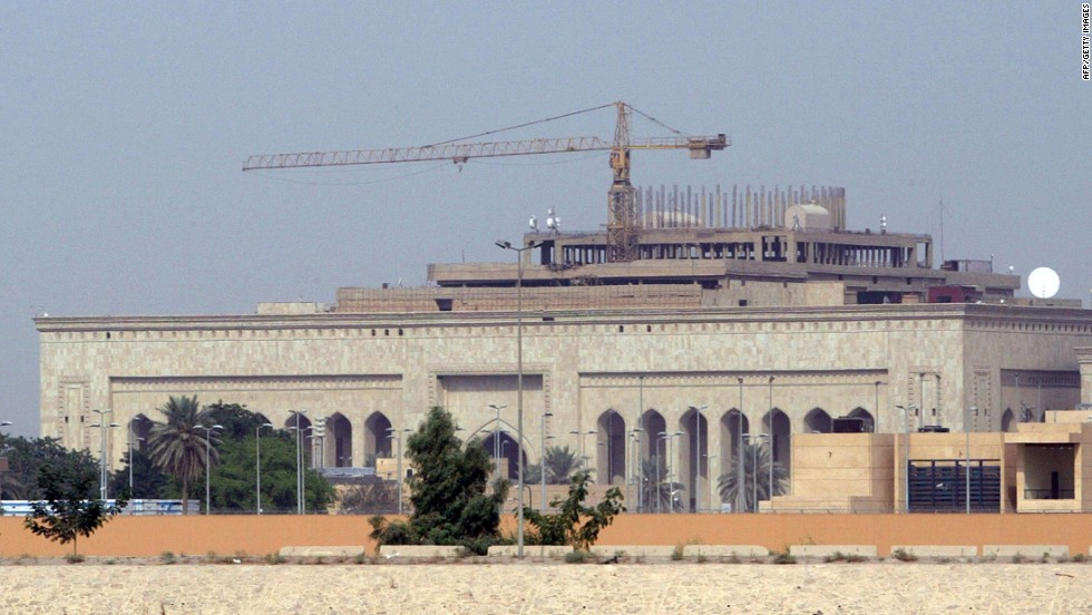 The U.S. Embassy in Baghdad, Iraq, shown here under construction in October 2007, reopened August 5. The consulates in Basrah and Erbil, which were closed, also resumed normal business on Monday.