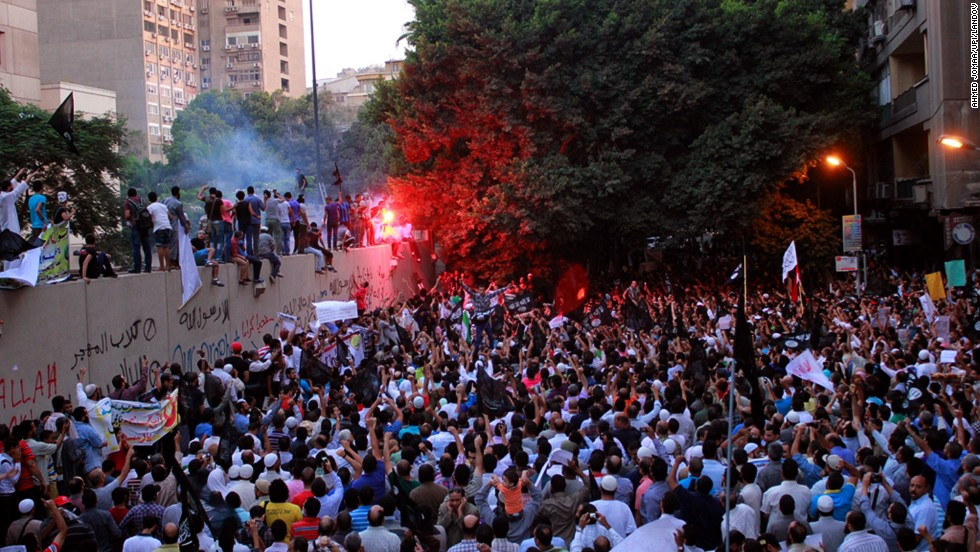 The U.S. Embassy in Cairo, Egypt, shown here during a demonstration on September 11, 2012, will remain closed.