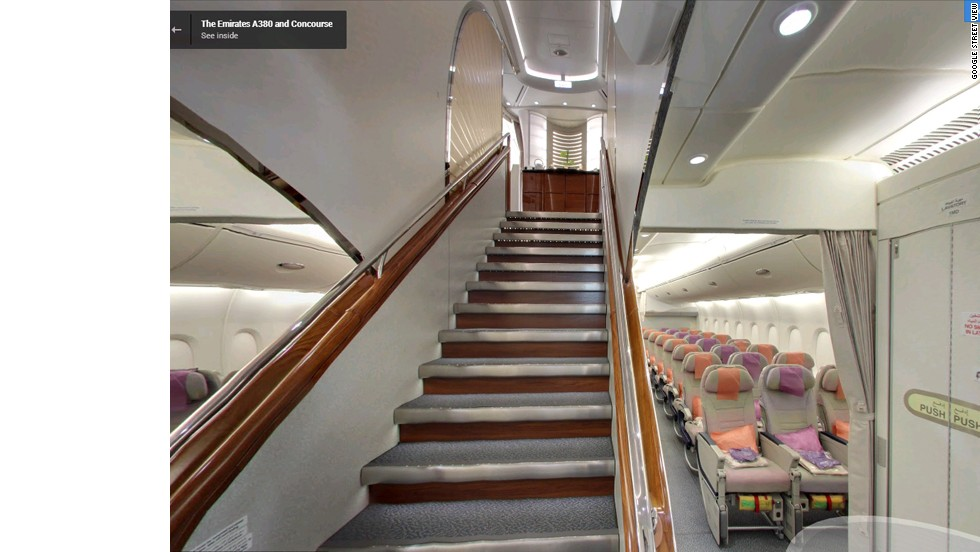 The great divide. Google's Street View reveals the lower deck is full of Economy Class seats, while the upper deck is the preserve of premium passengers.
