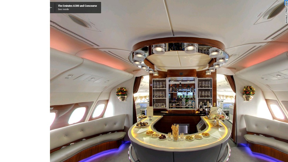 Google Street View explored an Emirates Airbus A380 from nose to tail. Here the Business Class bar at the back of the plane appears well stocked for its next flight.