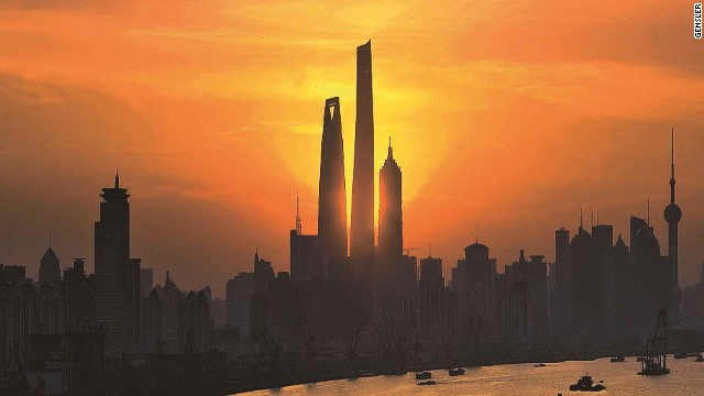 An artist's impression of the Shanghai Tower on completion