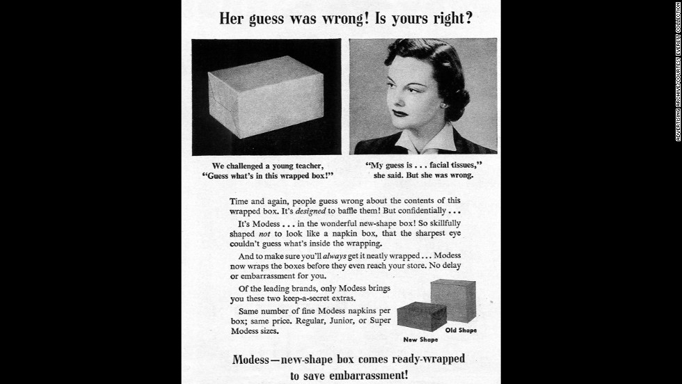 This 1950s-era Modess advertisement reveals a new strategy in packaging by the company well-known for its efforts at discretion and modesty.