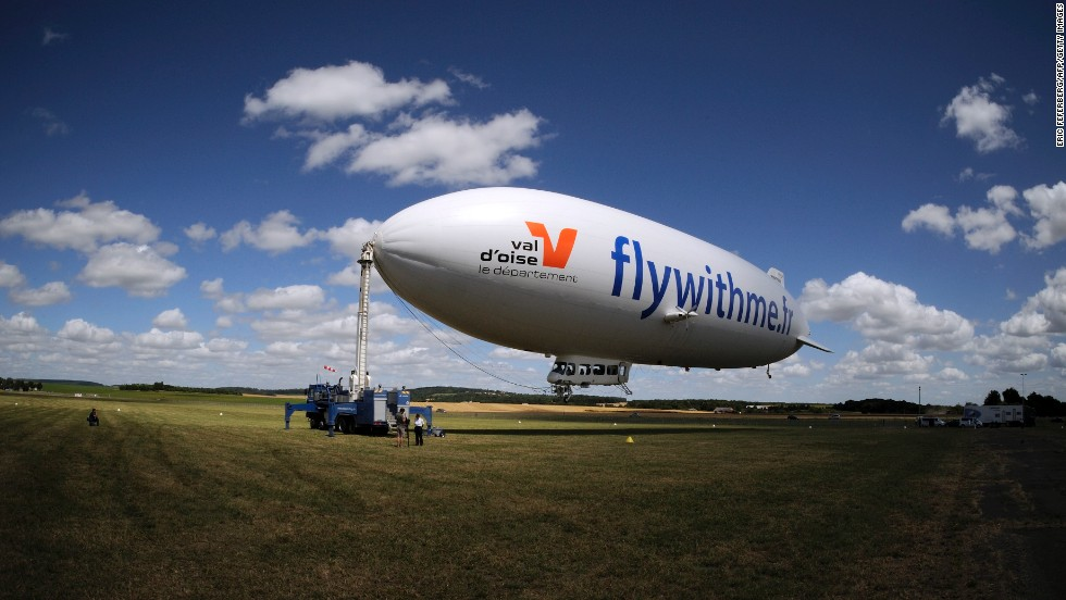 The airship readies for takeoff. Its sheer size -- 75 meters long and five stories high -- is a barrier to its wide adoption as a commercial craft: the infrastructure for docking, in France at least, is presently limited.
