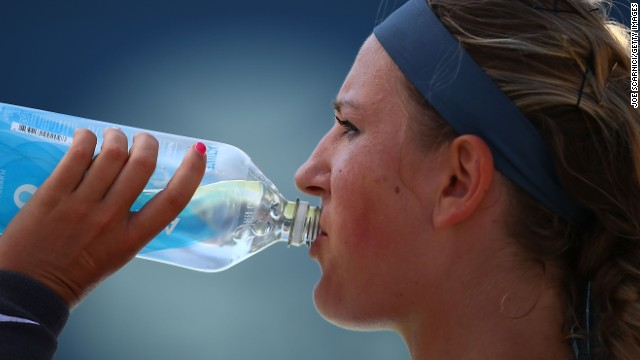 Victoria Azarenka takes a drink during the final of the WTA Carlsbad tournament which she lost to Samantha Stosur.
