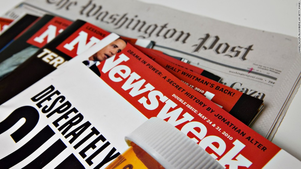 The Washington Post Company sells struggling Newsweek magazine in August 2010 to audio industry pioneer Sidney Harman for $1 and an agreement to take on its financial liabilities. For most of its 80-year history, Newsweek was owned by the Post. At the end of 2012, the magazine abandoned its print version.