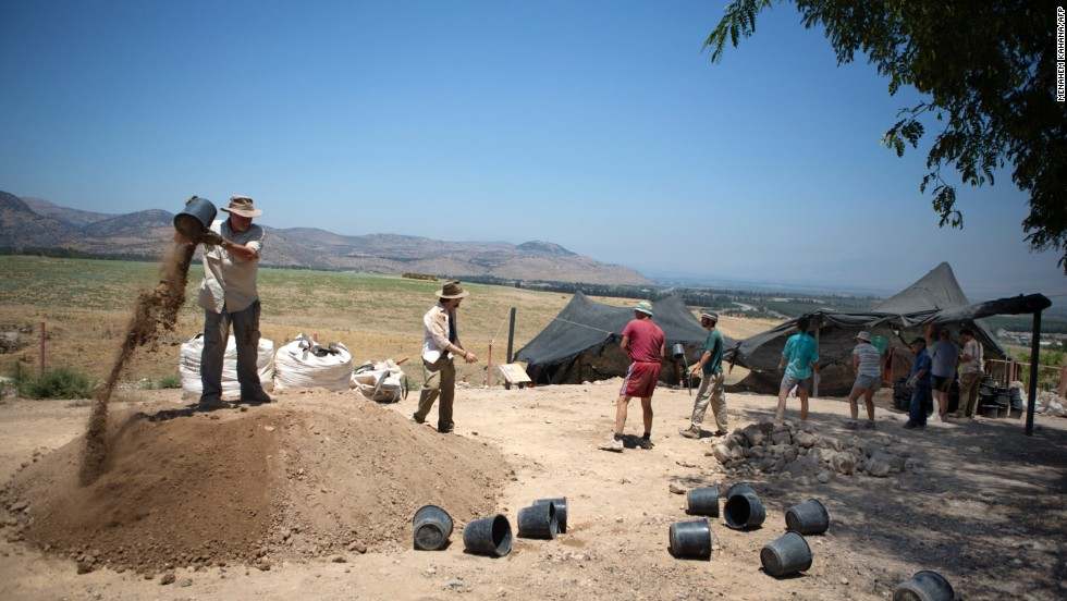 Volunteers of Hebrew University excavating at Tel Hazor. Each summer, professional and amateur archeologists descend upon the site, enlivening this normally quiet part of Israel.