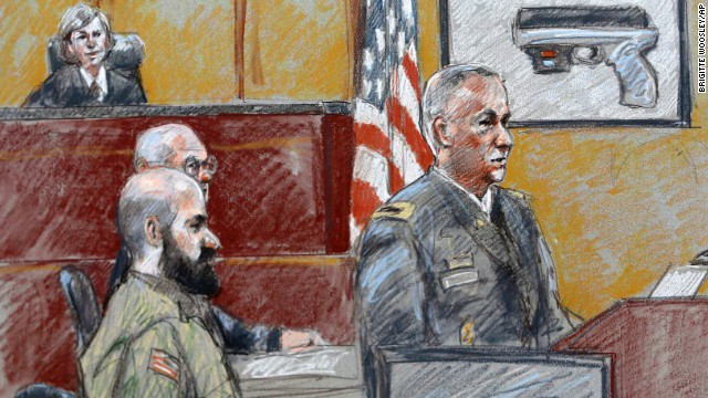 This courtroom sketch shows military prosecutor Lt. Col. Steve Henricks, right, speaking as Nidal Malik Hasan, center, and presiding judge Col. Tara Osborn look on, during the court-martial on Tuesday, August 6.