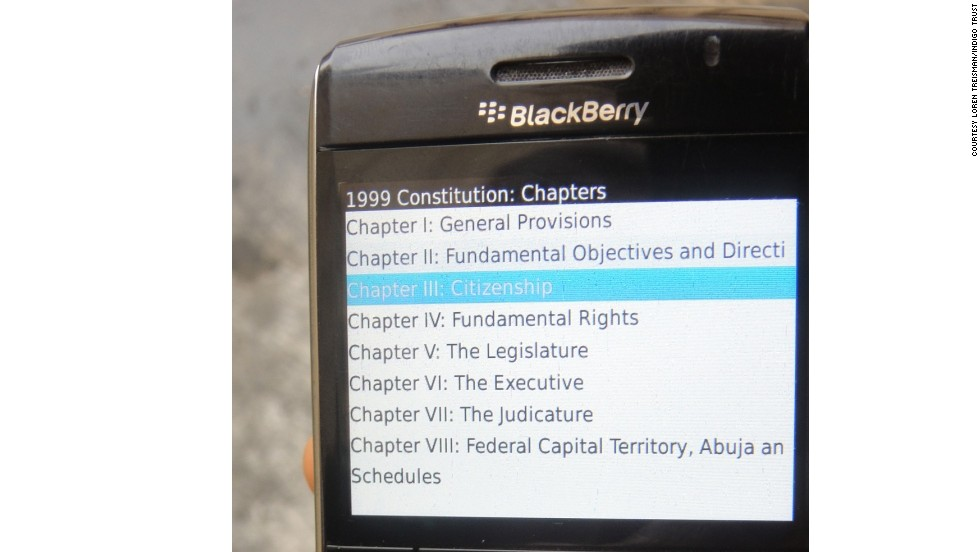 Also in Nigeria, a simple application created by developer Pledge 51 enables citizens to access their constitution by mobile phone.