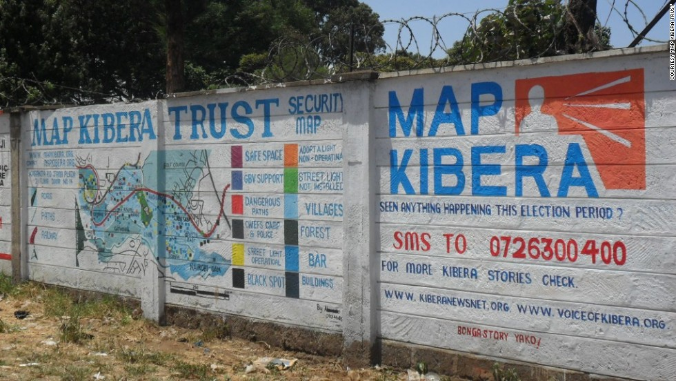 "Mobile phones are helping African citizens hold their governments to account, says Loren Treisman.<br /><a href=""http://www.mapkibera.org/"" target=""_blank""><br />Map Kibera Trust</a> has used mapping information from mobiles to create a security map on two walls in Kibera, Nairobi. Wall painting helped provide security information during Kenya's general election, showing political and trouble hotspots in the area."
