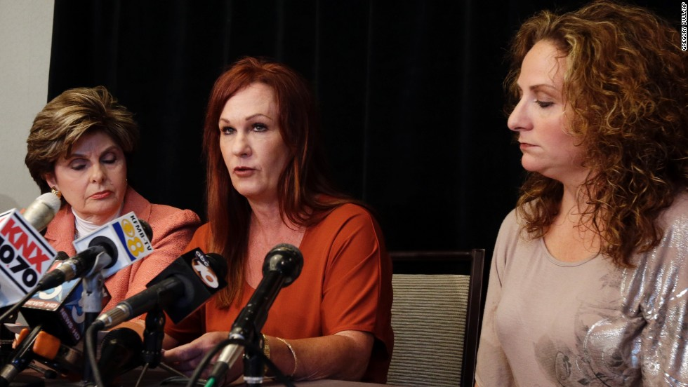 "Michelle Tyler, center, has accused<a href=""http://www.cnn.com/2013/08/06/us/california-san-diego-mayor/index.html"" target=""_blank""> Filner of unwanted sexual advances</a>. During a news conference, Tyler said that during a visit to his office in June, Filner rubbed her arm and asked for dinner dates in exchange for his helping Katherine Ragazzino, right, a brain-injured Iraq war veteran."