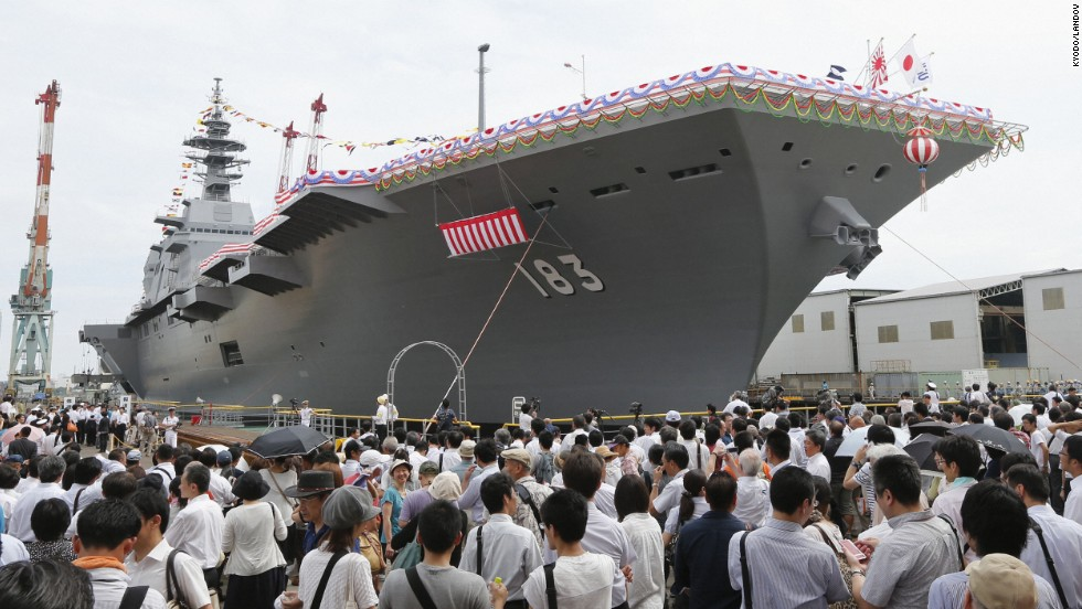 A launching ceremony for Japan's largest military ship since World War II is held in Yokohama in August 2013.