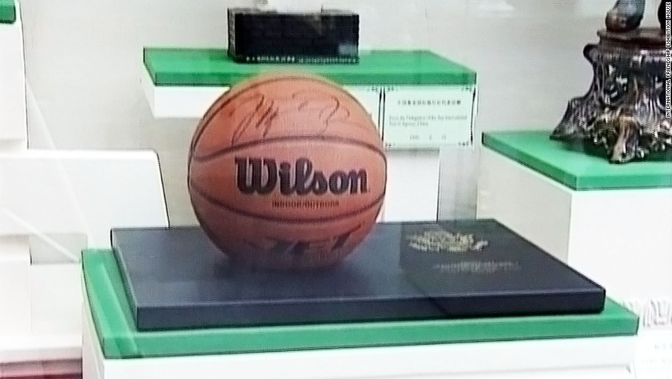 A basketball signed by NBA star Michael Jordan given to Kim Il Sung in 2000 by former U.S. Secretary of State Madeleine Albright.