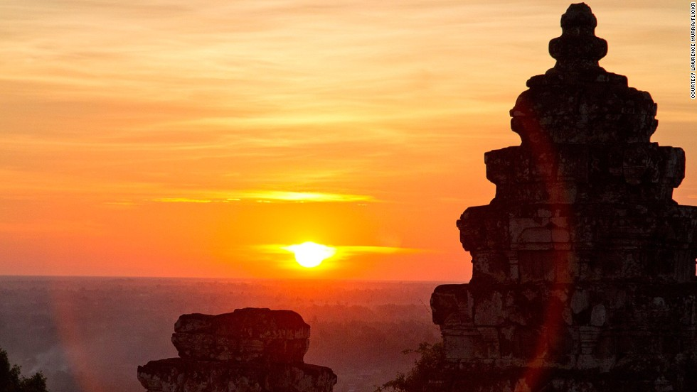 Phnom Bakheng is a popular place for viewing its larger neighbor, Angkor Wat, at dusk.