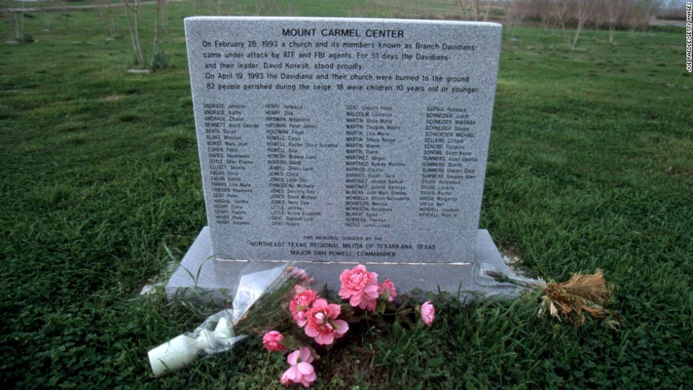 A memorial stands at the site of the Branch Davidian compound outside Waco, Texas, on March 14, 2000.