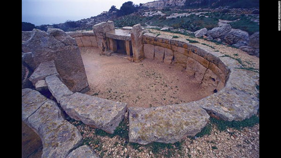 The Megalithic Temples of Malta include this one at Mnajdra, near the town of Qrendi on the island's south coast. The oldest structure at Mnajdra may date back to 3600 BC.