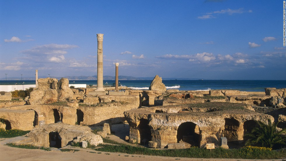 Although they conquered and sacked it in 146 BC, the Romans rebuilt Carthage, and it was a trading port for centuries. The archeological site in Tunisia includes thermal baths, which are shown here.