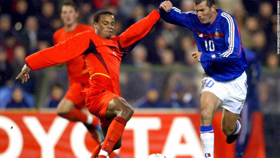 Kompany made his debut for the national team in 2004 in a friendly match against France. He is pictured here tackling legendary French playmaker Zinedine Zidane.