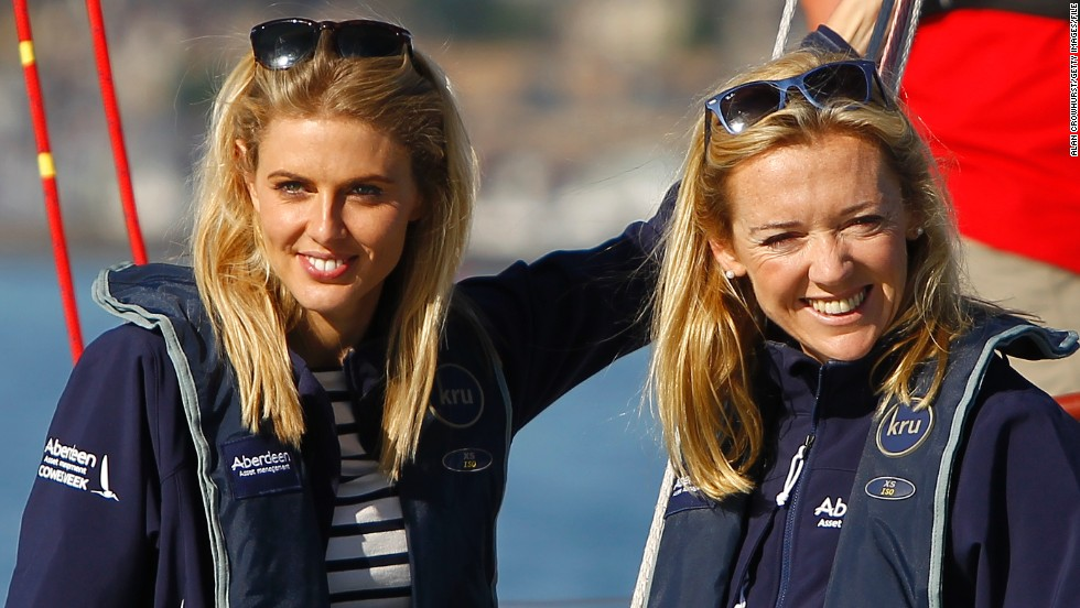 British TV presenter and actor Donna Air, and CNN's MainSail presenter Shirley Robertson, soak up the sun at this year's Cowes Week regatta.