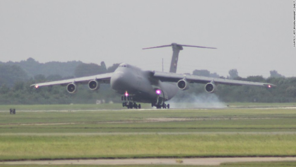 Zero-One-Four touches down at Dover Air Force Base.