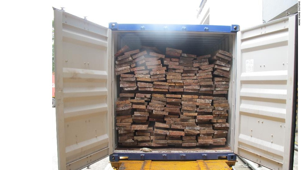 On July 19, Hong Kong customs found 1,148 ivory tusks - valued at $2.3 million - in the innermost parts of this container, shipped from Togo.