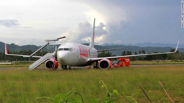 Indonesia-based Lion Air hit a cow when landing at Jalaluddin Airport on August 6, 2013.