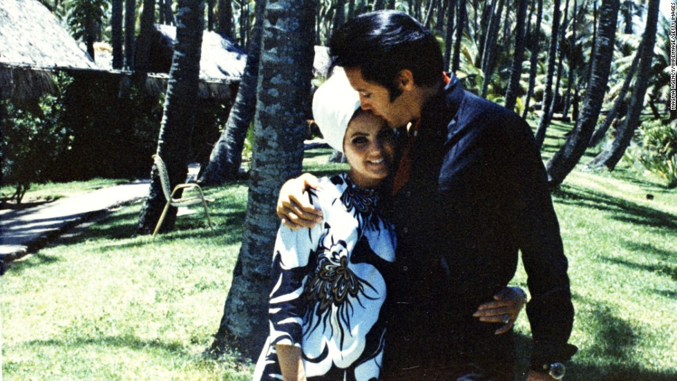 Then-wife Priscilla Presley poses with Elvis Presley in 1968.